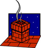 Chimney in the roof of a house vector illustration Royalty Free Stock Photos