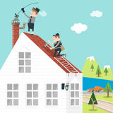 Chimney and roof. Illustration of the chimney sweeper who cleans inside a chimney and the repairman fix a hole in the roof Royalty Free Stock Images
