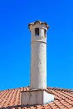 Chimney on the roof in Kastoria city stock images