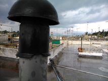 Chimney on a rooftop Corfu. View over Corfu Greece Stock Photography