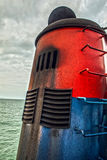 Chimney of sea ship Stock Photos