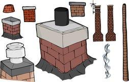 Chimney Set. Nine various chimney illustrations with smoke stream and antenna versions Stock Photo