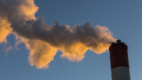 Chimney smoke polluted air. Chimney smoke of electricity power plant polluted air Stock Photography
