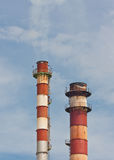 Chimney stack with fume Royalty Free Stock Image