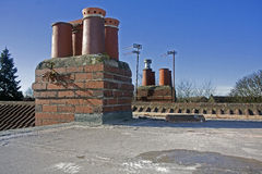 Chimney Stack to flat roof Royalty Free Stock Images