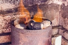 chimney starter charcoal lightweight black carbon and ash residue hydrocarbon produced by slow pyrolysis stock image