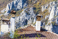 Chimney and stone roof Royalty Free Stock Photos