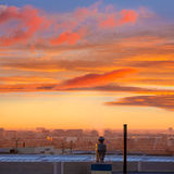 Chimney at sunrise in Paterna Valencia Spain. Industrial chimney at sunrise in Paterna Valencia at Spain Stock Photography
