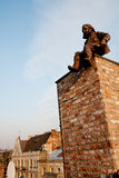 Chimney sweep. The little monument to chimney sweep on the Lviv roof Stock Images