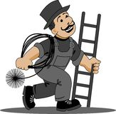 Chimney-sweep cartoon.   Royalty Free Stock Photo