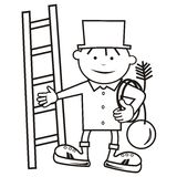 Chimney sweep, coloring book Royalty Free Stock Image