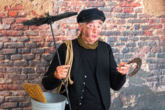 Chimney sweep with horseshoe stock photography