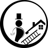 Chimney sweep logo, man, person and profession logo. Chimney sweep, sign, professions sign Stock Photography