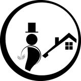Chimney sweep logo, man, person and profession logo. Chimney sweep, sign, professions sign Stock Image