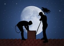 Free Chimney Sweep On The Roof Royalty Free Stock Photography - 147492127