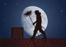 Free Chimney Sweep On The Roof Royalty Free Stock Photos - 161838838