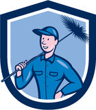 Chimney Sweep Worker Shield Cartoon Stock Photos