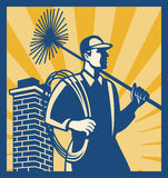 Chimney Sweeper Cleaner Worker Retro. Illustration of a chimney sweeper cleaner worker with sweep broom viewed from side with chimney stack set inside square Royalty Free Stock Image
