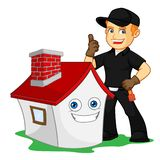 Chimney Sweeper give thumb up with smiling house. Give thumb up with smiling house cartoon illustration, can be download in vector format for unlimited image vector illustration