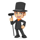 Chimney Sweeper Holding Chimney Brush. Isolated in white background Royalty Free Stock Images