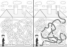 Chimney sweeper maze. For kids with a solution in black and white Stock Image