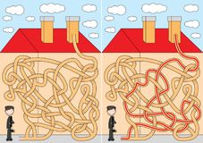 Chimney sweeper maze. For kids with a solution Royalty Free Stock Image
