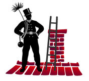 Chimney sweeper. Stylized illustration of chimney sweeper on the rooftop Stock Image