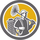 Chimney Sweeper Worker Retro. Illustration of a chimney sweep holding sweeper and rope viewed from side set inside circle on isolated background done in retro Royalty Free Stock Images