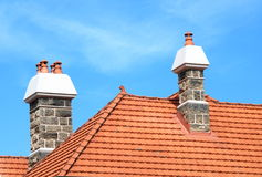 Chimney 4. Traditional chimneys on the rooftop Royalty Free Stock Photo