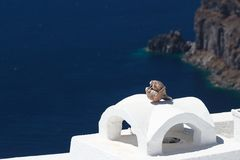 Chimney in traditional Cyclades style in Fira village Royalty Free Stock Photos