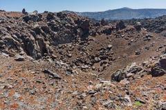 Chimney of volcano in Nea Kameni island near Santorini, Greece Royalty Free Stock Images