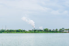 Chimney with white dense smoke Royalty Free Stock Images