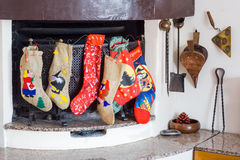 Chimney witch socks in ephiphany Royalty Free Stock Photography