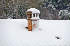 Chimneypot under snow Royalty Free Stock Images