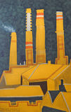 Chimneys above the central railway station. Yellow chimneis in the night. Ecosystem Equilibrium. Ecological Balancen stock illustration