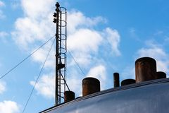 Chimneys and antenna of a ferry Stock Photography