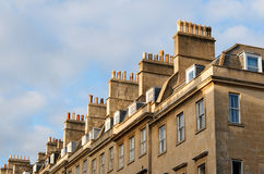 Chimneys of Bath. Roofs, chimneys and windows of the Georgian city Bath, Britain Royalty Free Stock Image
