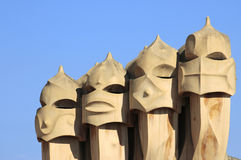 Chimneys of Casa Mila in Barcelona Royalty Free Stock Photos