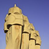Chimneys, Casa Mila, Barcelona, Spain Stock Images