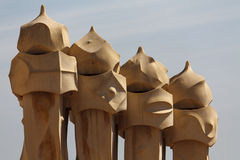 Chimneys of the Casa Mila (La Pedrera) Stock Image