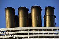 Dirty Chimneys of a Cruise Ship Stock Photography