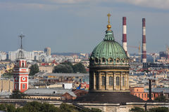 Chimneys and domes in the sky of St-Petersburg Stock Photography