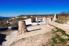 Chimneys of dwelling caves.  Andalusia Royalty Free Stock Photos