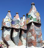 Chimneys of Gaudi on La Pedrera park Guell, Barcelona, Spain Spain Stock Photos