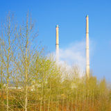 Chimneys of Heating Power Station Royalty Free Stock Image