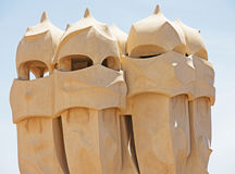 Chimneys on La Pedrera, Barcelona Stock Photography