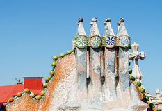 Chimneys like masked soldiers on the roof of Casa Mila Royalty Free Stock Photo