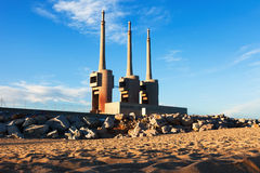 Chimneys of neglected power thermal station Stock Photo