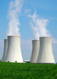 Chimneys of nuclear power plant. View on nuclear power plant in sunny weather. Dukovany, Czech Republic, EU royalty free stock photo