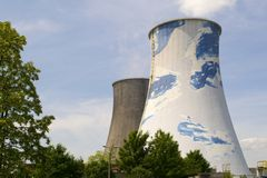 Chimneys of a nuclear power plant Royalty Free Stock Images